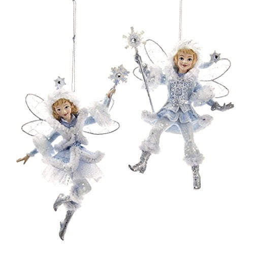 Kurt Adler Frosted Kingdom Snow Fairy & Jack Frost Ornaments | Putti