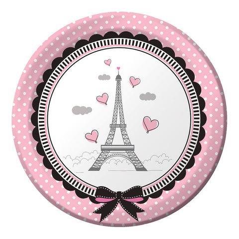 """Party in Paris"" Paper Plates -  Party Supplies - Creative Converting - Putti Fine Furnishings Toronto Canada"