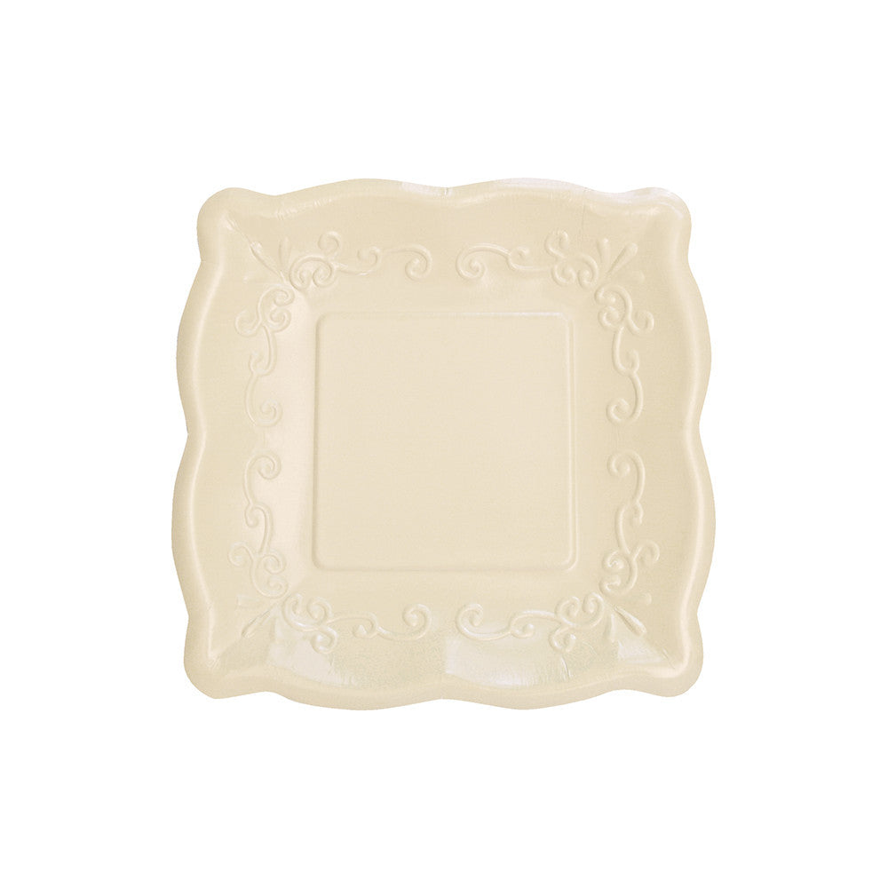 Square Embossed Paper Lunch Plates - Linen, CC-Creative Converting, Putti Fine Furnishings