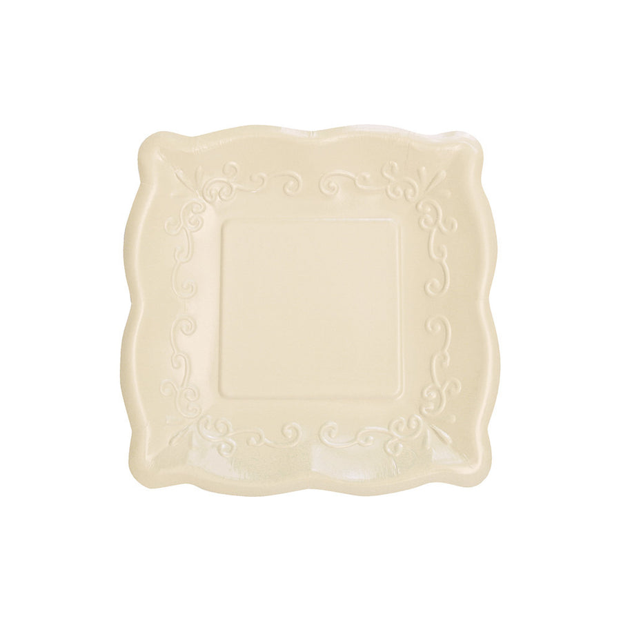Square Embossed Paper Lunch Plates - Linen