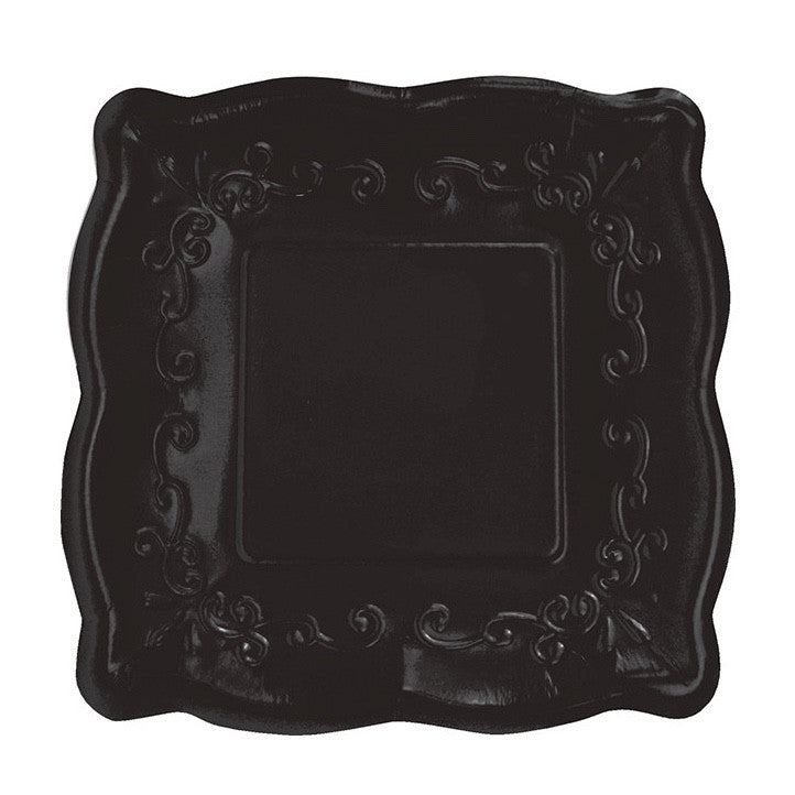 Square Black Embossed Dinner Plates