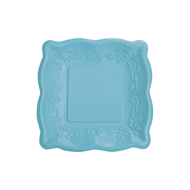 Square Embossed Paper Lunch Plates - Azure