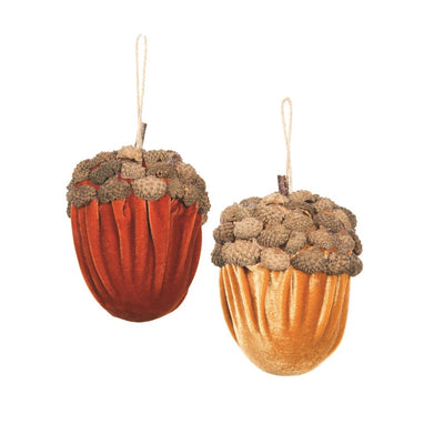 Gold Velvet Acorn Ornament | Putti Thanksgiving Fall