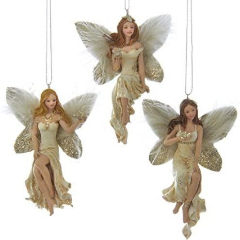 Kurt Adler Ivory and Gold Auburn Fairy Ornament with Bird