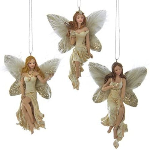 Kurt Adler Ivory and Gold Blonde Fairy Ornament with Butterfly