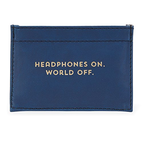 """Headphones on. World off"" Leatherette Earbud Pouch"
