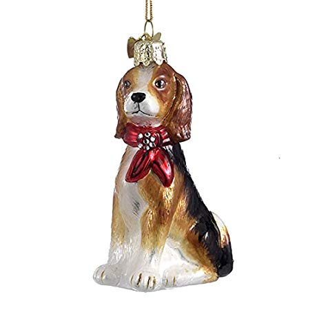 Kurt Adler Beagle with Red Bow Glass Dog Christmas Ornament | Putti Christmas