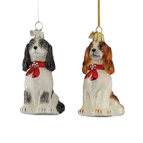 Kurt Adler Cavalier King Charles with Red Bow Glass Ornament