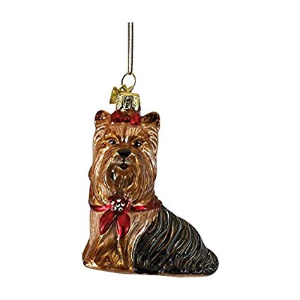 Kurt Adler Yorkshire Terrier with Red Bow Glass Dog Christmas Ornament  | Putti Christmas
