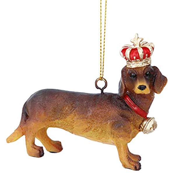 Royal Balmoral Dachshund with Crown Ornament