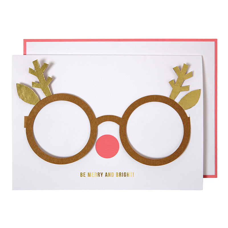 Meri Meri Reindeer Glasses Christmas Card, MM-Meri Meri UK, Putti Fine Furnishings