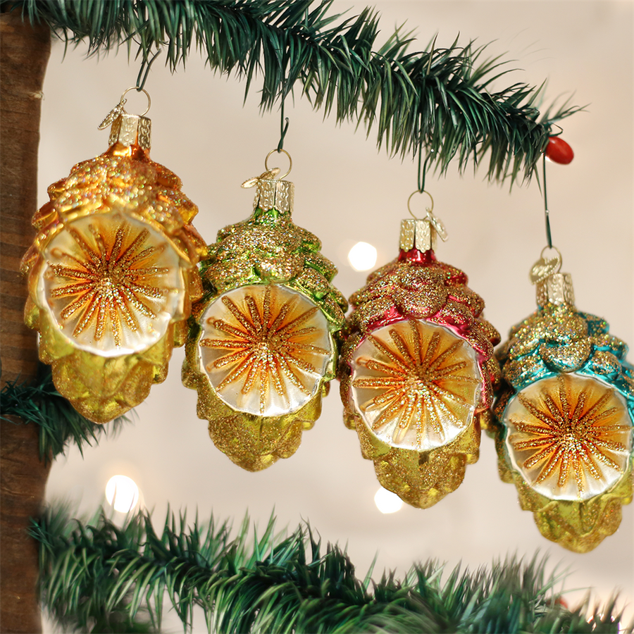 Old World Christmas Colourful Cone Reflector Glass Ornament
