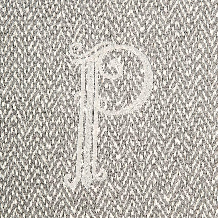 Monogrammed Herringbone Throw - Initial P, MP-Mud Pie, Putti Fine Furnishings