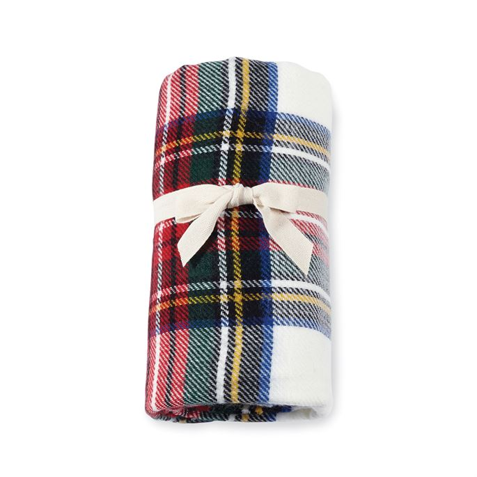 White Tartan Throw Blanket
