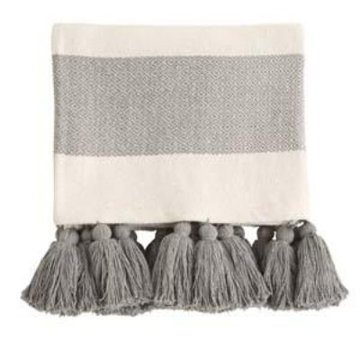 Woven Cotton Throw with Tassels - Grey and Off White Stripes