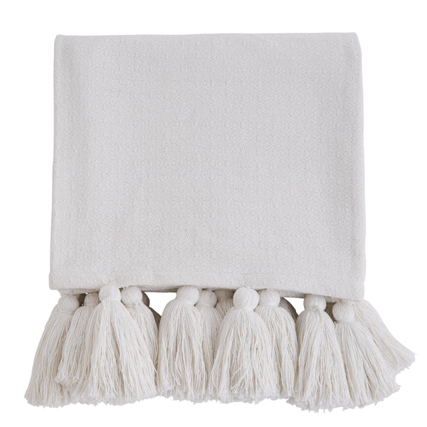 Woven Cotton Throw with Tassels - Off White, TAG-Design Home Associates, Putti Fine Furnishings