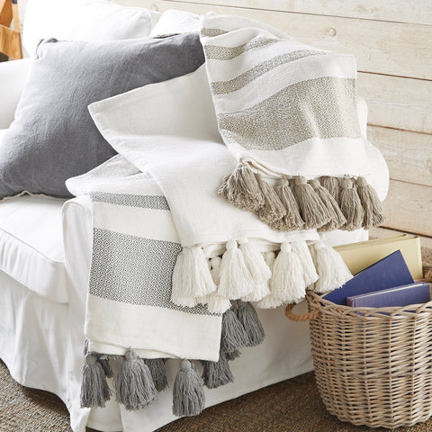 Woven Cotton Throw with Tassels - Taupe and Off White Stripes