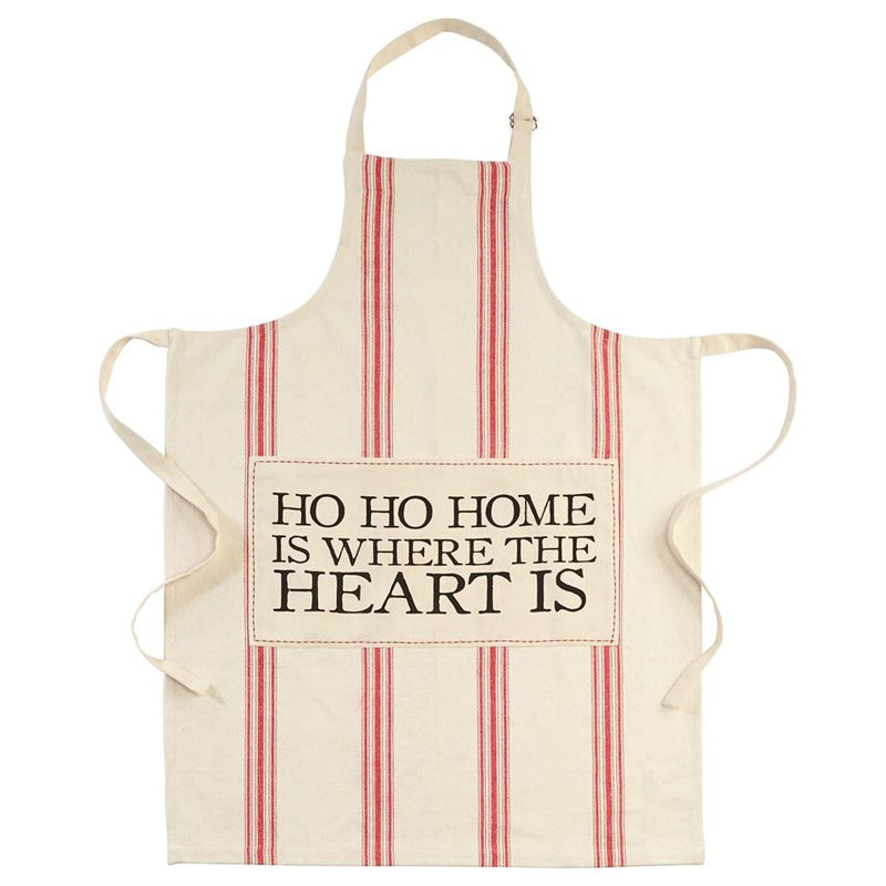 Mud Pie Ho Ho Home is Where the Heart is Grain Sack Apron | Putti Christmas