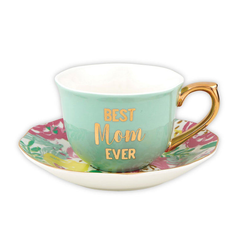"Slant ""Best Mom Ever"" Floral Tea Cup 