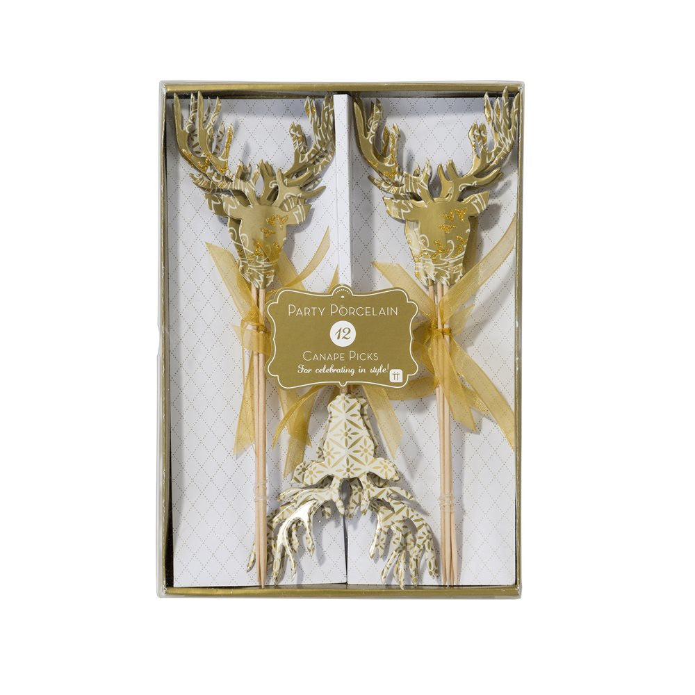 Party Porcelain Gold Stag Canape Picks-Paper Napkins-TT-Talking Tables-Putti Fine Furnishings