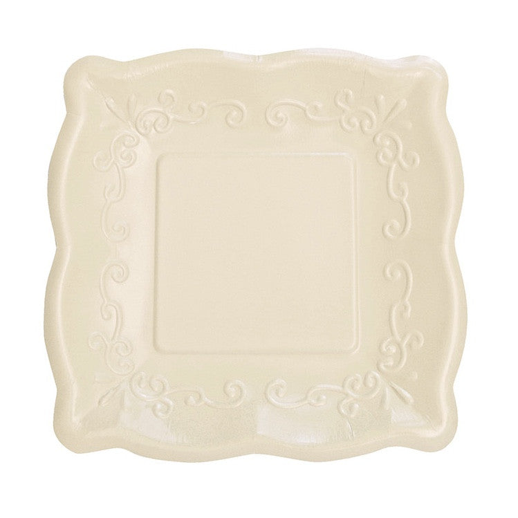 Square Linen Embossed Dinner Plates, CC-Creative Converting, Putti Fine Furnishings