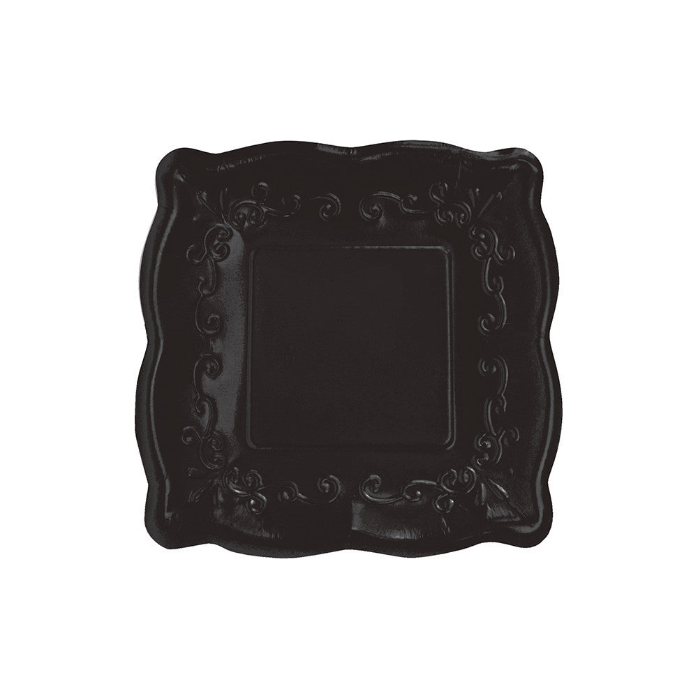 Square Black Embossed Lunch Plates, CC-Creative Converting, Putti Fine Furnishings