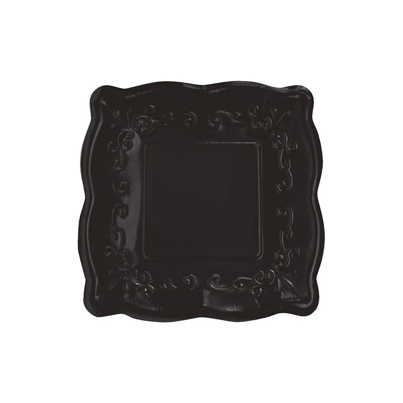 Square Black Embossed Lunch Plates