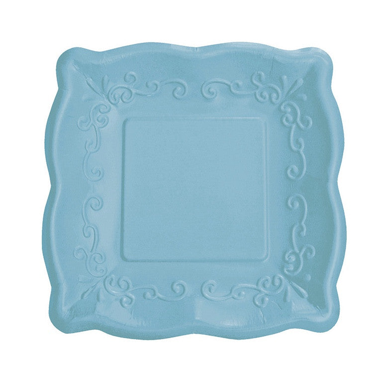 Square Embossed Paper Dinner Plates - Azure
