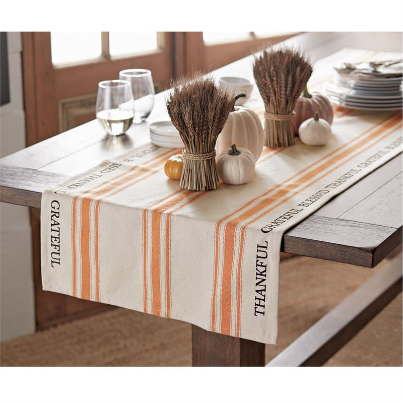 """Thankful Grateful"" Grain Sack Table Runner 