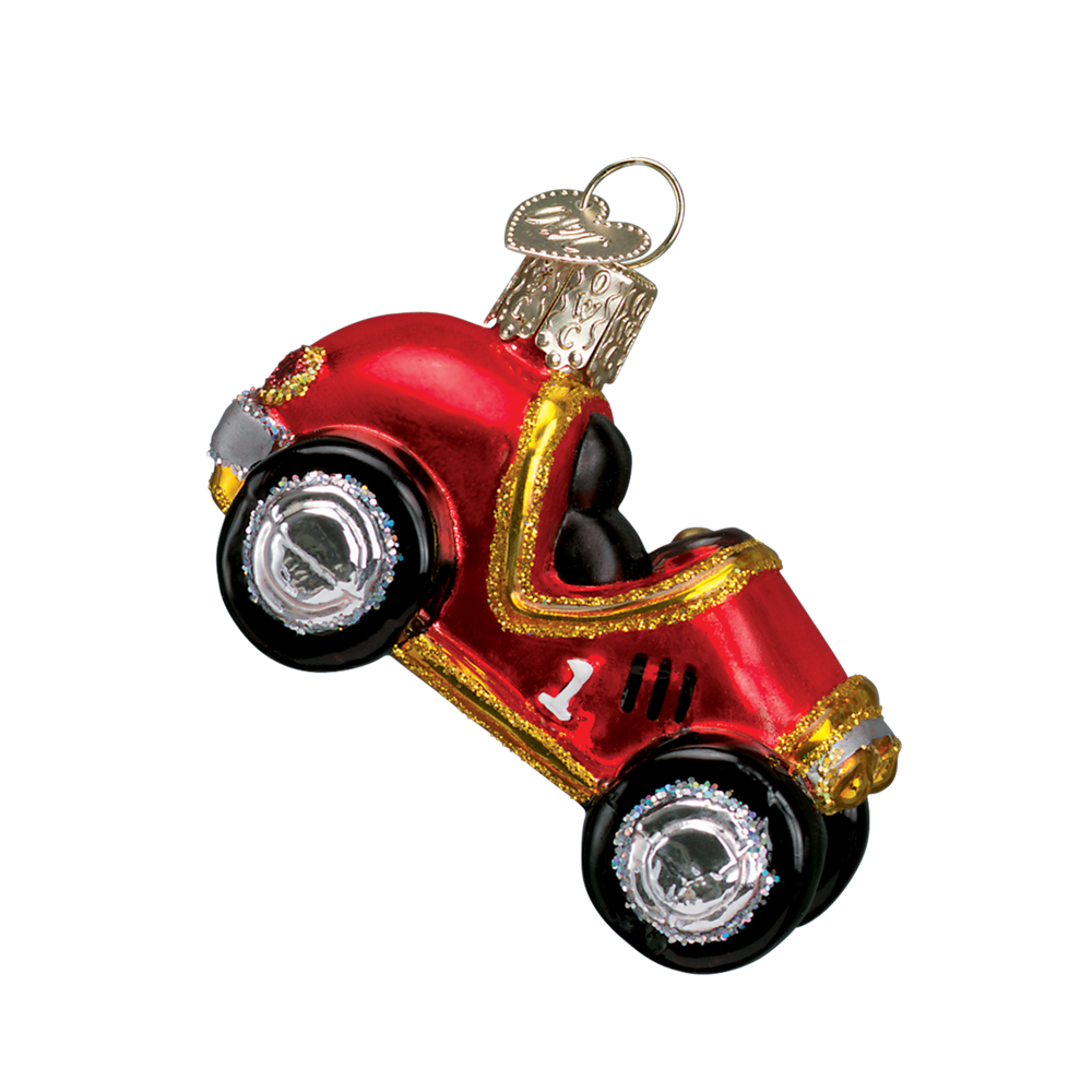 Old World Christmas Race Car Glass Ornament, OWC-Old World Christmas, Putti Fine Furnishings