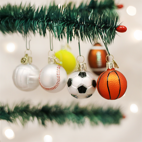 Old World Christmas Assorted Miniature Sports Balls Glass Ornament - Set of 6 Assorted Sports Balls Christmas Decorations - Old World Christmas - Putti Fine Furnishings Toronto Canada - 1