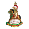 Old Word Christmas Rocking Horse Teddy Glass Ornament - Putti Canada