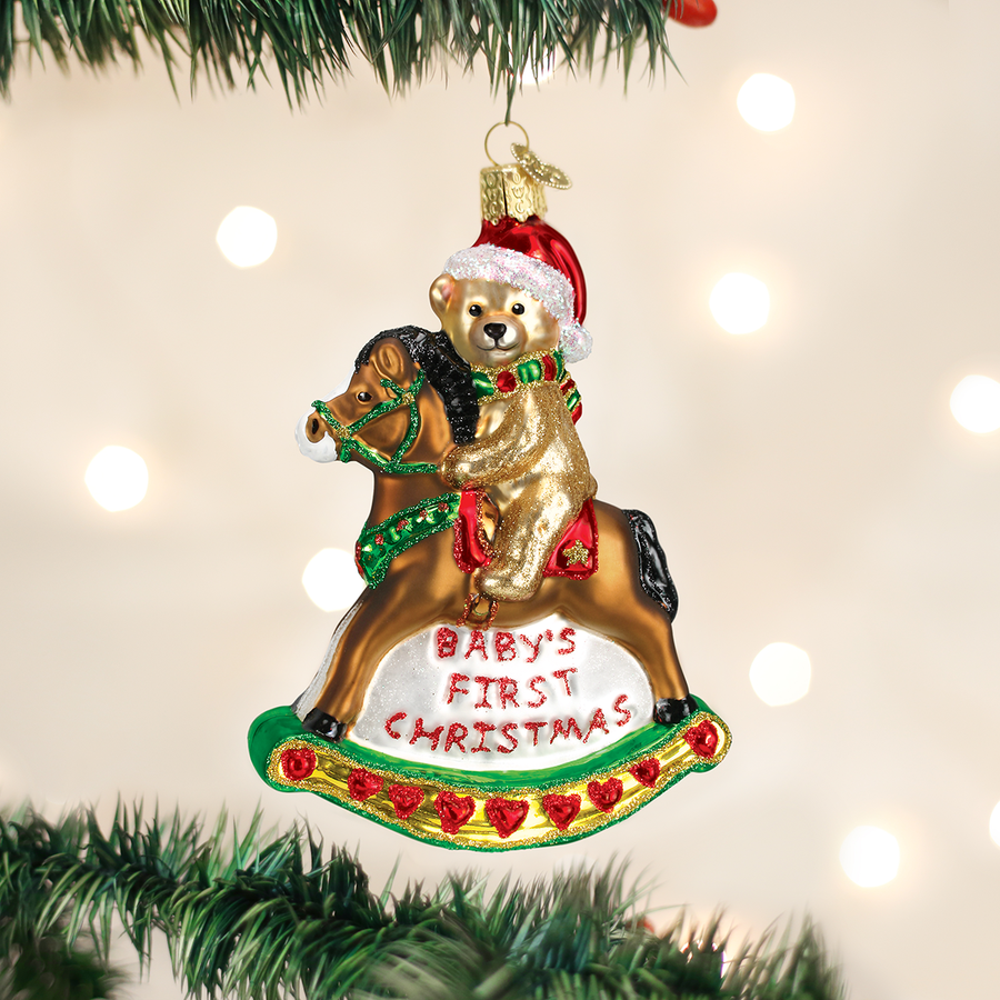 Old Word Christmas Rocking Horse Teddy Glass Ornament
