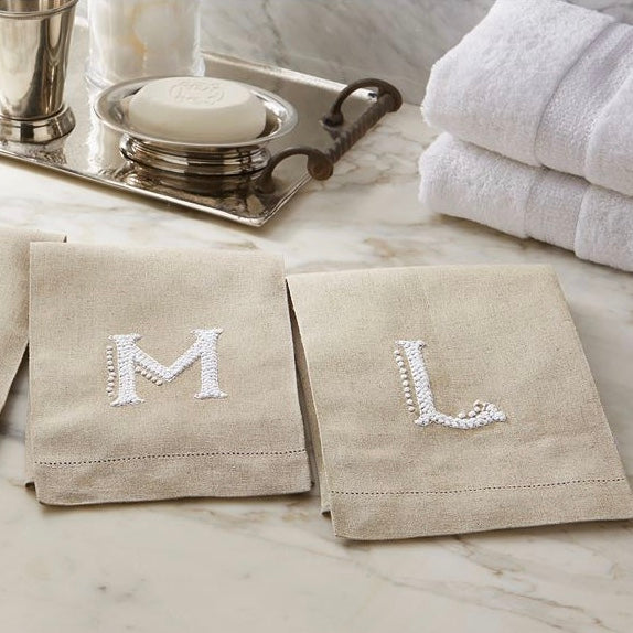 French Knot Initial Hand Towels, MP-Mud Pie, Putti Fine Furnishings