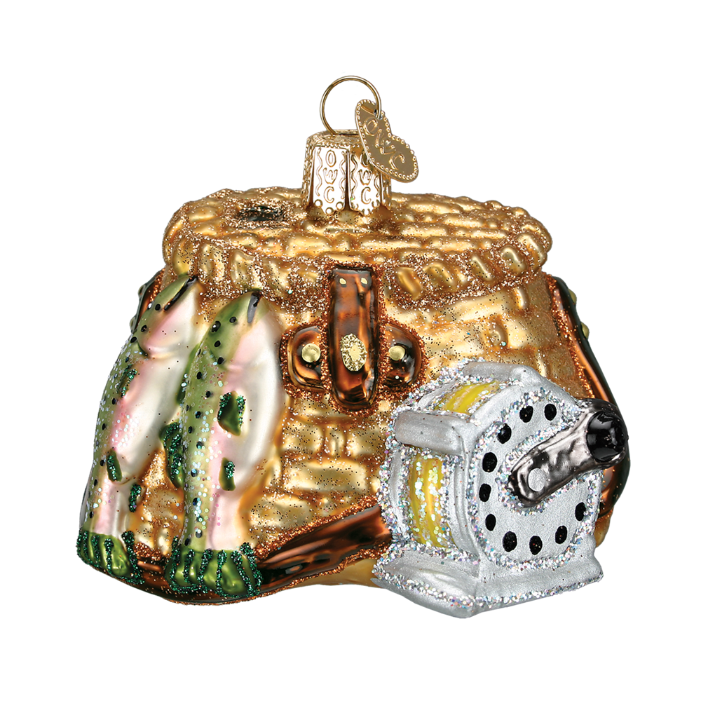 Old Word Christmas Fishing Creel Glass Ornament, OWC-Old World Christmas, Putti Fine Furnishings