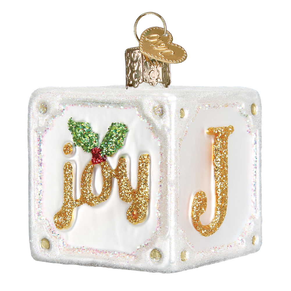 Old World Christmas Joy Block Glass Blown Ornament 44081