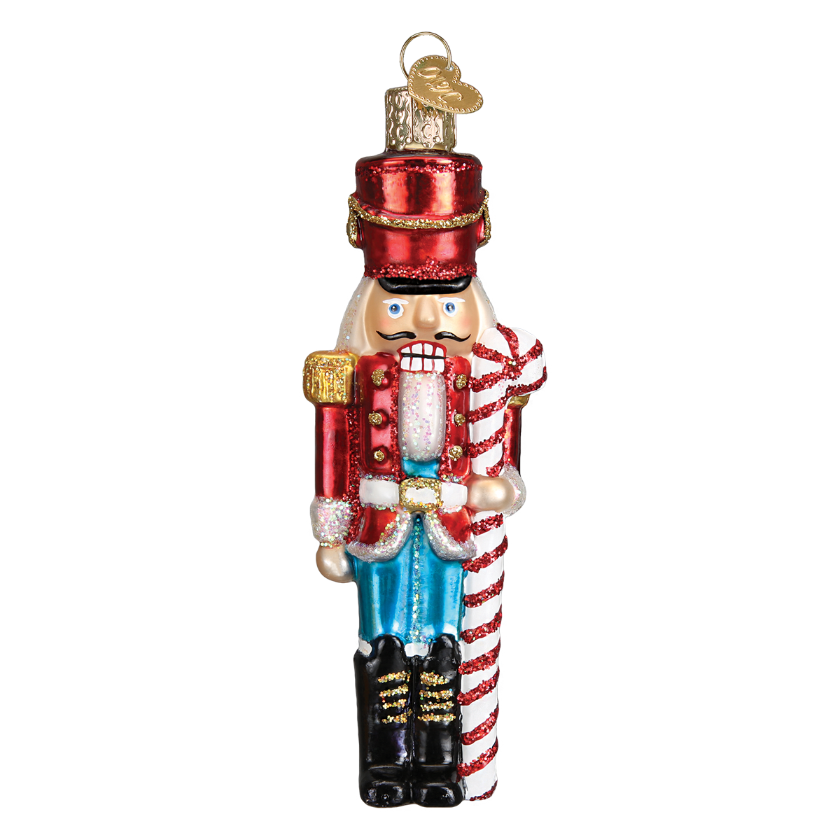 Old Word Christmas Peppermint Nutcracker Glass Ornament