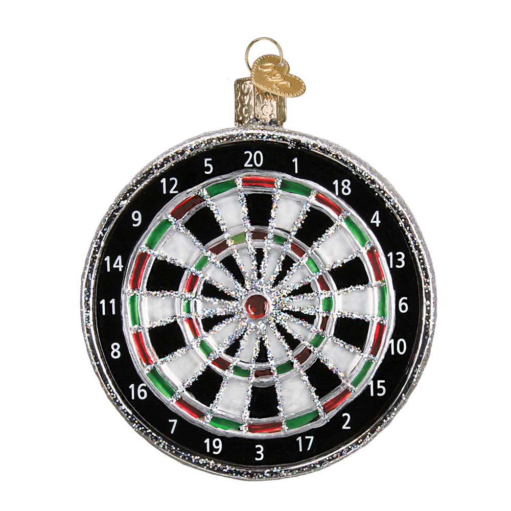 Old Word Christmas Dart Board Glass Ornament