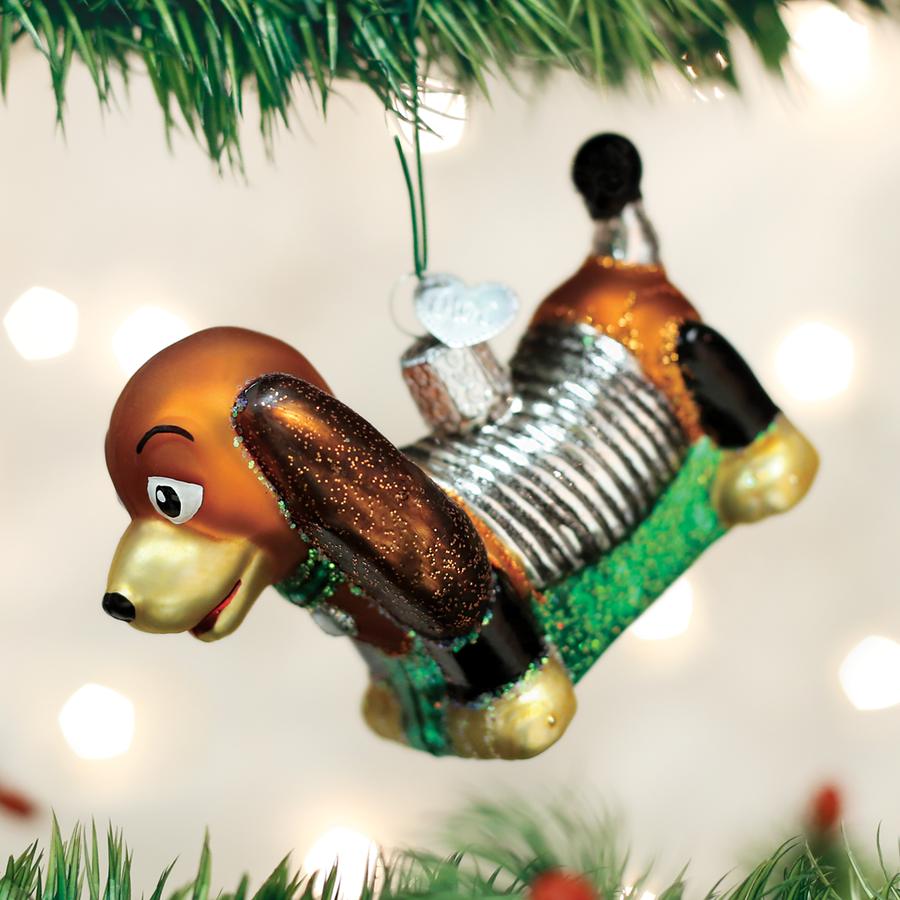 Old World Christmas Toy Coil Dog Glass Ornament