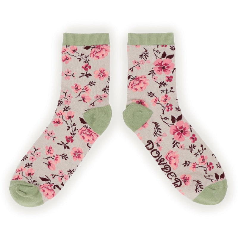 Powder Pink Blossom Ankle Socks - Slate