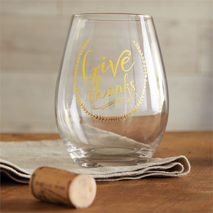 """Give Thanks"" Stemless Wine Glass"