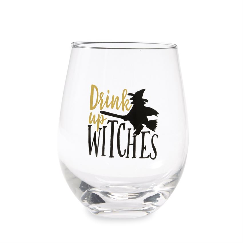 """Drink up Witches"" Stemless Wine Glass  - Putti fine Furnishings"