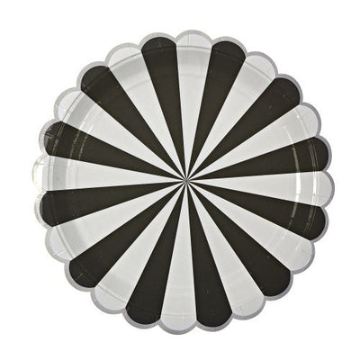"""Toot Sweet"" Black and White Striped - Large Paper Plates -  Party Supplies - Meri Meri UK - Putti Fine Furnishings Toronto Canada - 2"