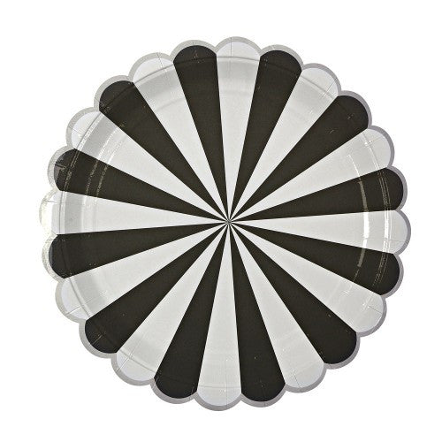 """Toot Sweet"" Black and White Striped - Large Paper Plates"