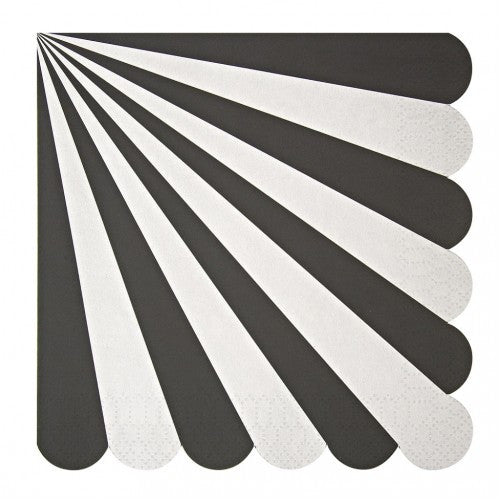 """Toot Sweet"" Black and White Striped - Large Paper Napkins -  Party Supplies - Meri Meri UK - Putti Fine Furnishings Toronto Canada - 1"