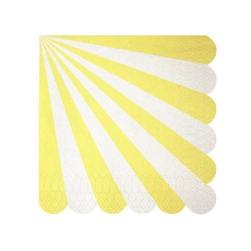 "Meri Meri ""Toot Sweet"" Yellow and White Striped - Small Paper Napkins"