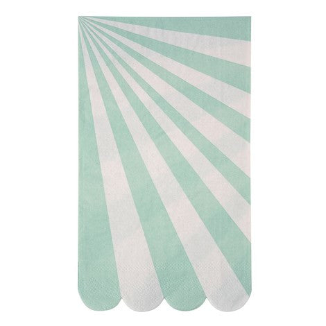 "Meri Meri ""Toot Sweet"" Aqua & White Striped - Guest Napkins"