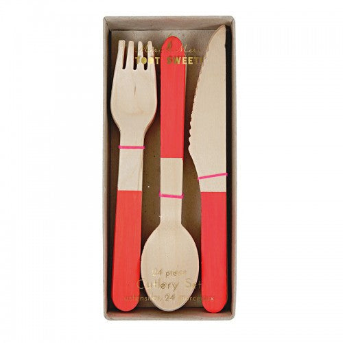 Wooden Cutlery Set - Red -  Party Supplies - Meri Meri UK - Putti Fine Furnishings Toronto Canada