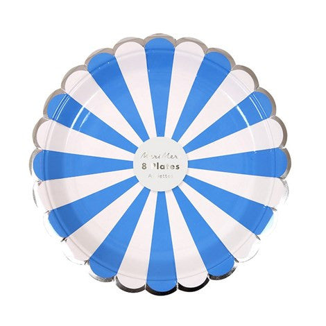 Meri Meri  Blue & White Striped - Small Paper Plates
