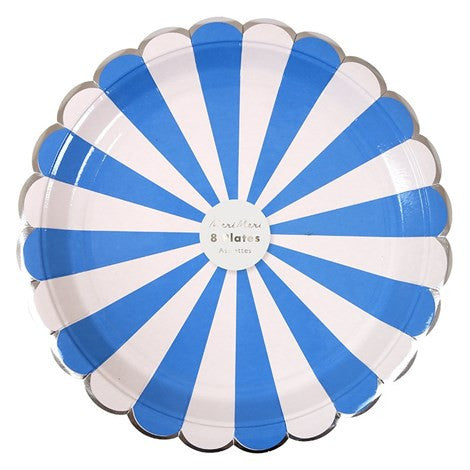 Meri Meri  Blue & White Striped - Large Paper Plates